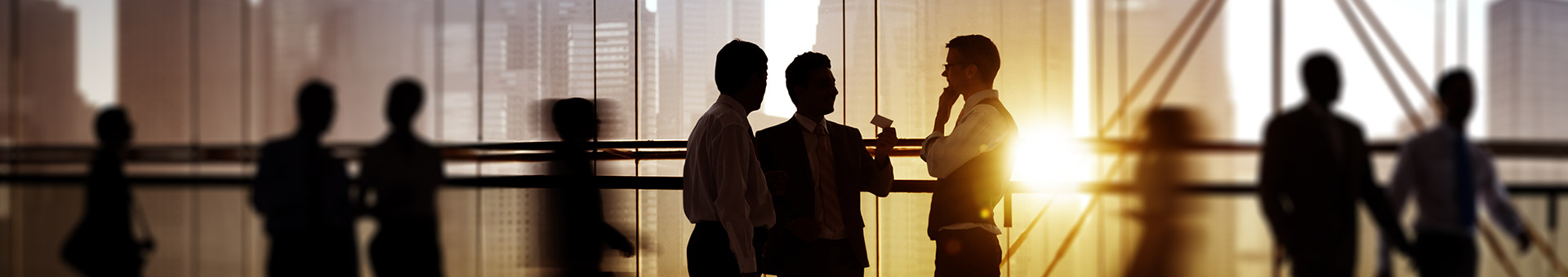 Silhouette of businessmen in conversation